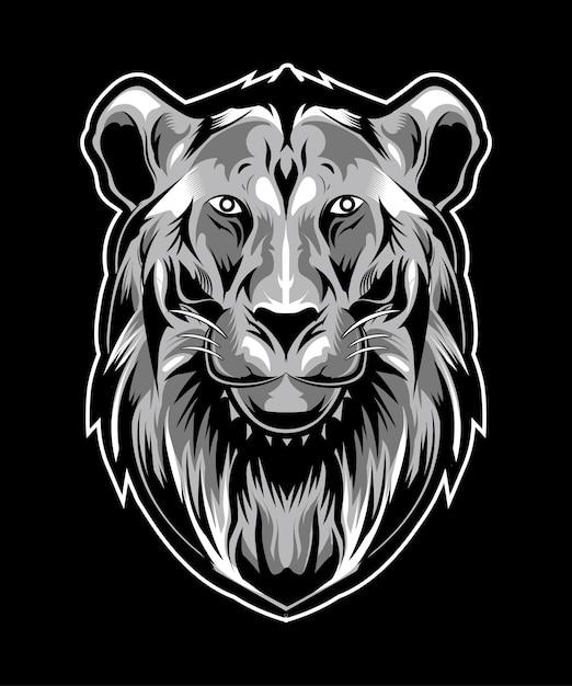 Lion head illustration auf dunklem hintergrund Premium Vektoren