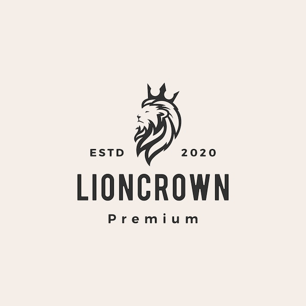 Lion king crown hipster vintage logo symbol illustration Premium Vektoren