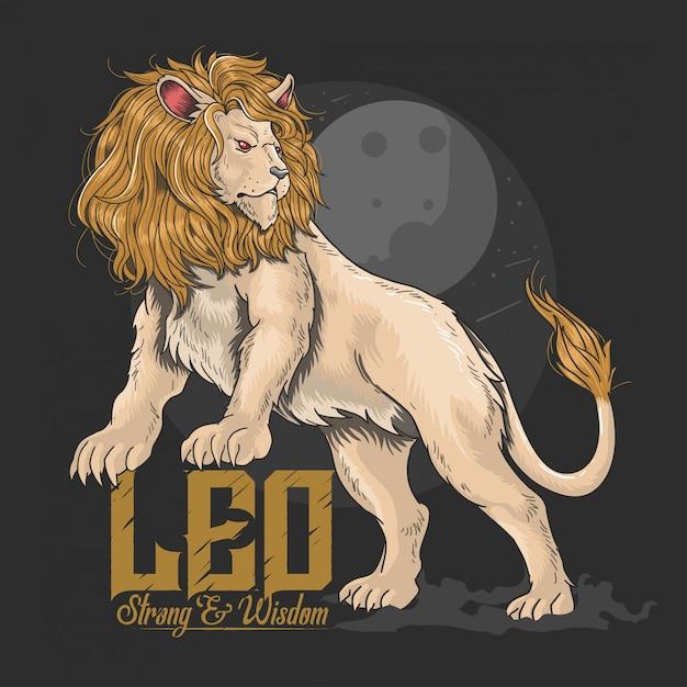 Lion leo stark und weisheit Premium Vektoren