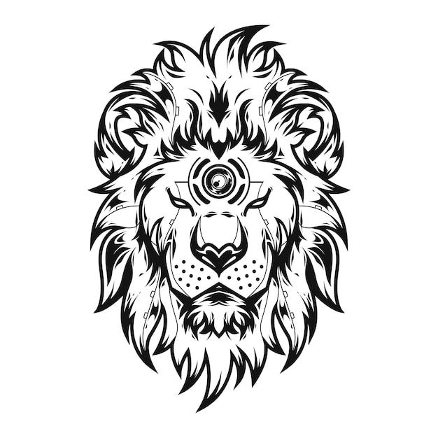 Liong könig illustration und t-shirt design Premium Vektoren
