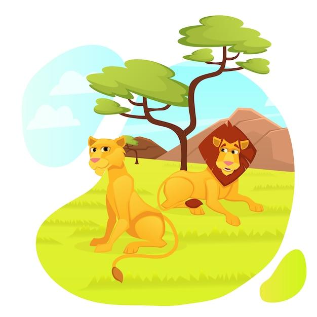 Lions-raubtierfamilie, männliche und weibliche tiere Premium Vektoren