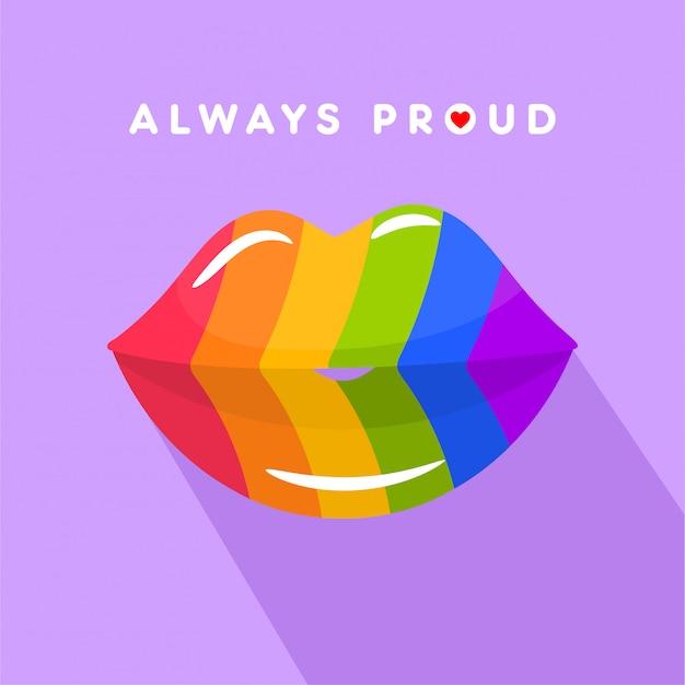 Lippen küssen silhouette in regenbogen-lgbt-flaggenfarben Premium Vektoren