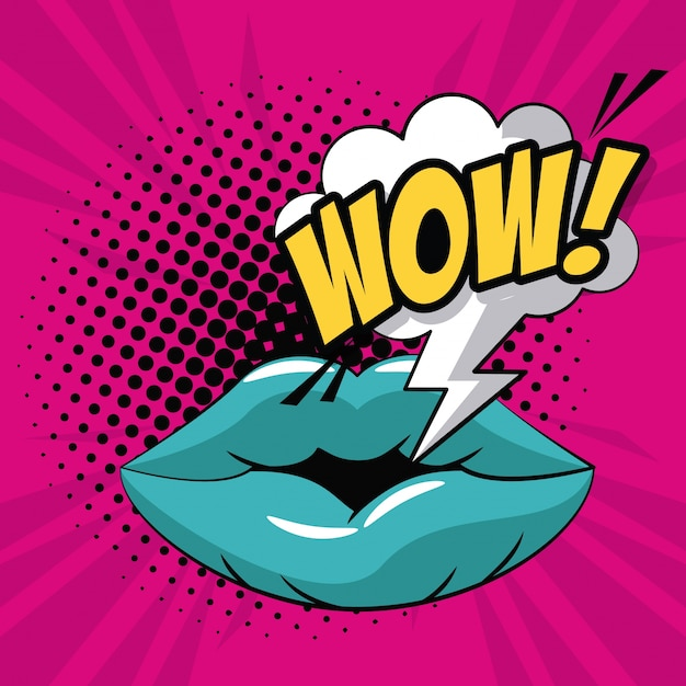Lippen wow pop-art-symbol Premium Vektoren