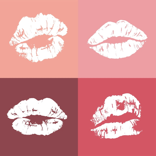 Lippenabdruck im pinup-stil Kostenlosen Vektoren