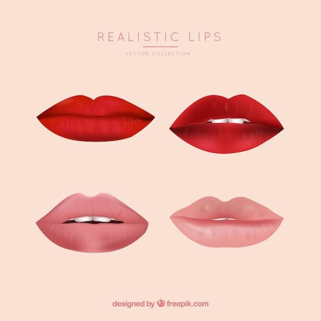 Lippensammlung im realistischen stil Kostenlosen Vektoren