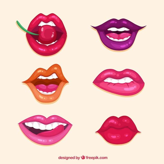 Lippensammlung mit verschiedenen farben Kostenlosen Vektoren