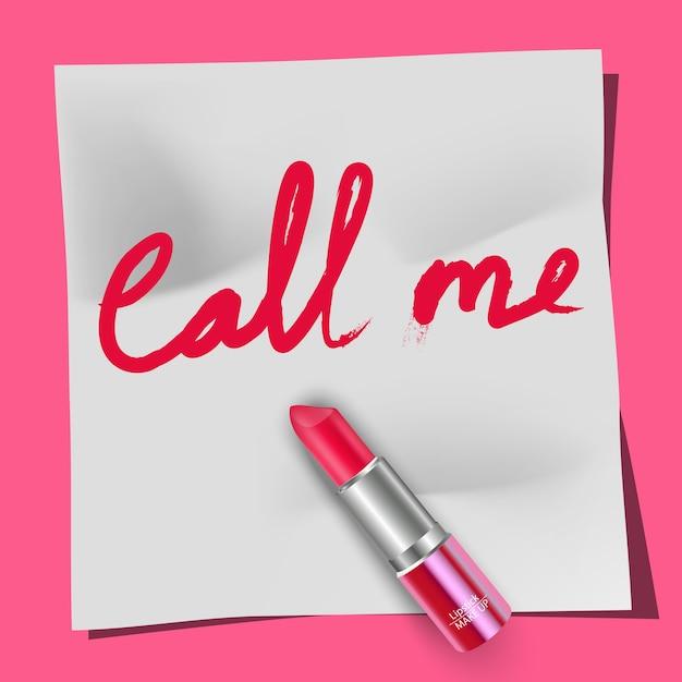 Lippenstift und die wörter rufen mich an Premium Vektoren