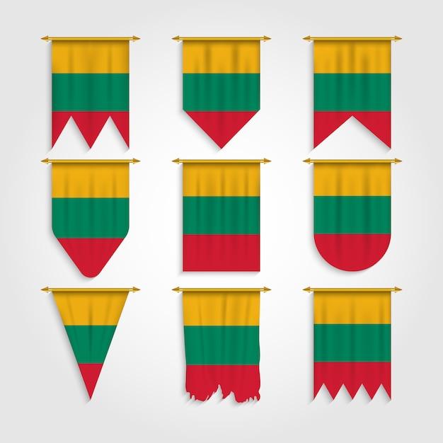 Litauen flagge in verschiedenen formen Premium Vektoren
