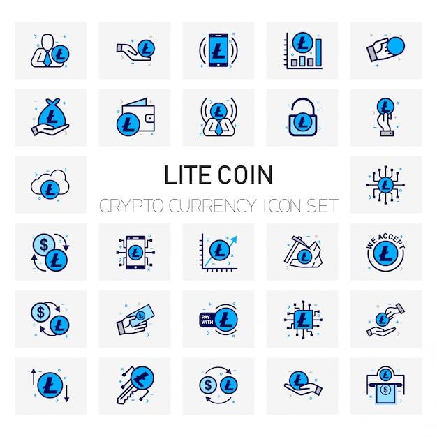 Lite-münzen-krypto-währungsikonen eingestellt Premium Vektoren