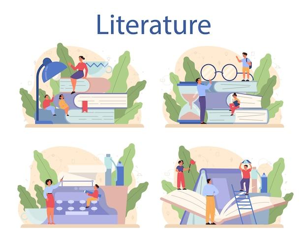 Literaturschulfach. webinar, kurs und lektion. idee von bildung und wissen. studiere alten schriftsteller und modernen roman. Premium Vektoren