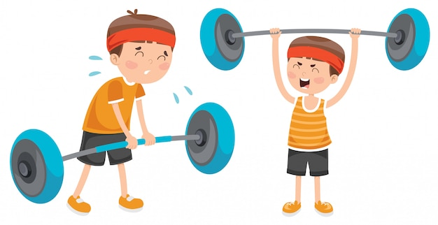 Little boy, das gewichthebenübung bildet Premium Vektoren