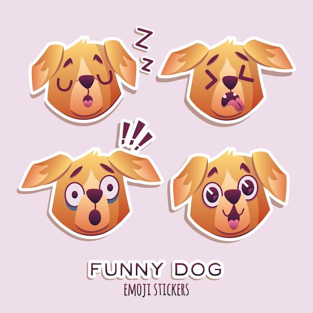 Little pet pug dog welpe mit halsband-sammlung von emoji-gesichtsausdrücken Kostenlosen Vektoren