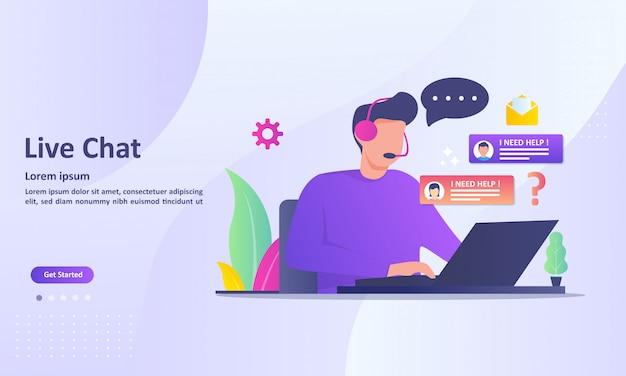Live-chat-service-konzept Premium Vektoren