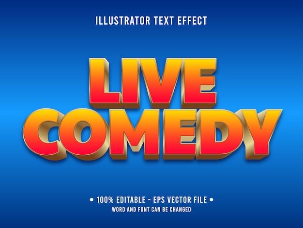 Live-comedy bearbeitbarer texteffekt im modernen stil mit orangefarbenem farbverlauf Premium Vektoren