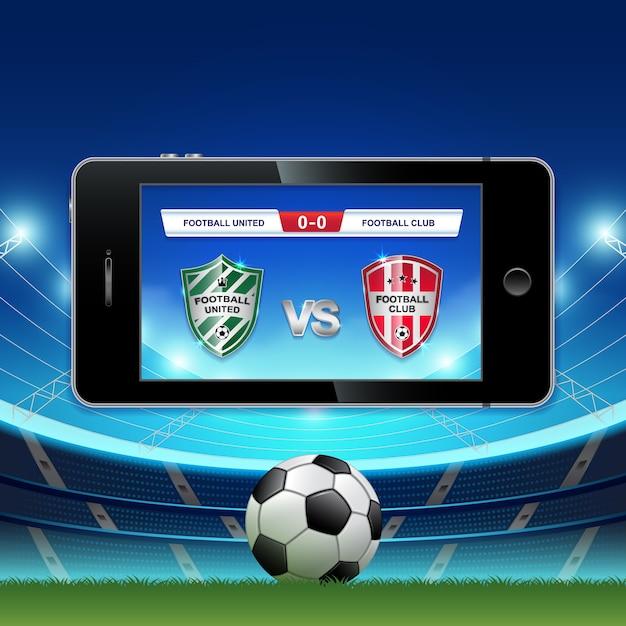 Live-fußball full hd und fußball online auf dem handy Premium Vektoren