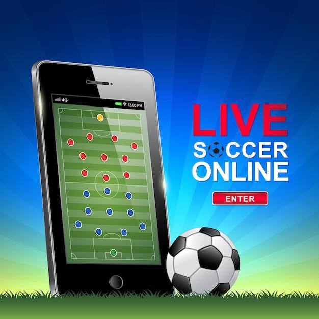 Live-fußball und fußball online auf dem handy Premium Vektoren