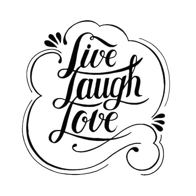 Live-lachen liebe typografie design Kostenlosen Vektoren