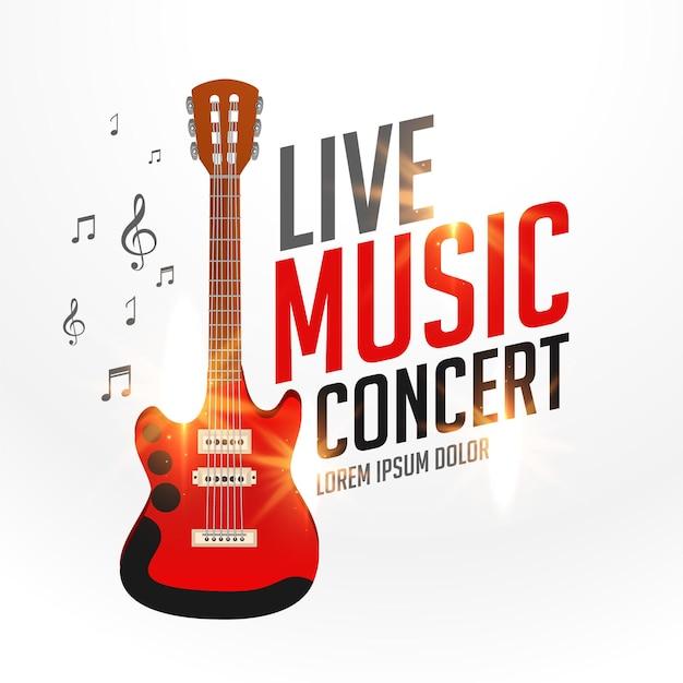 Live-musik-cover-vorlage mit realistischer gitarre Kostenlosen Vektoren