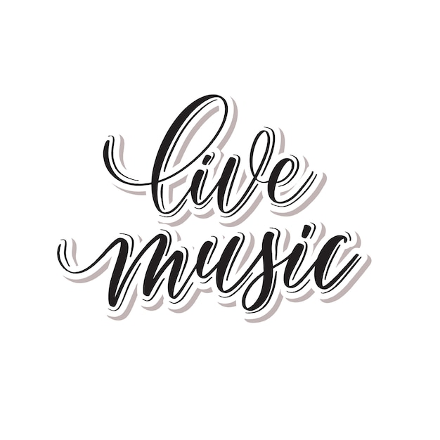 Live-musik - handschriftzug. Premium Vektoren