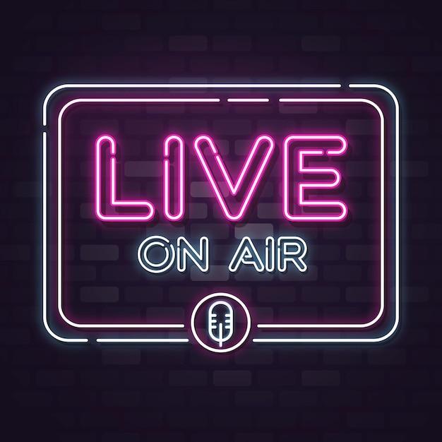 Live on air leuchtreklame Kostenlosen Vektoren