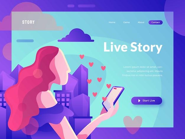 Live story-website-vorlage Premium Vektoren