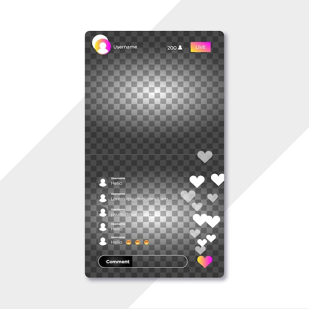 Live-stream-instagram-schnittstelle Kostenlosen Vektoren