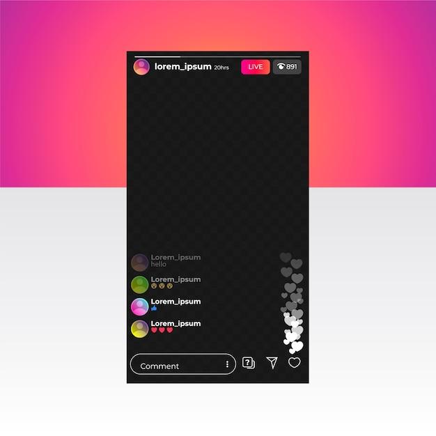 Live-stream-instagram-schnittstellenvorlage Premium Vektoren