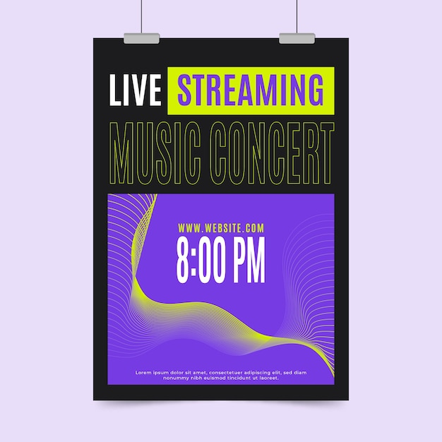 Live-stream musik konzert poster konzept Kostenlosen Vektoren