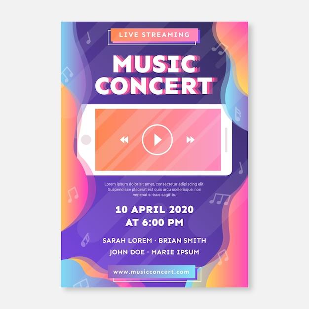 Live-stream musik konzertplakat Kostenlosen Vektoren