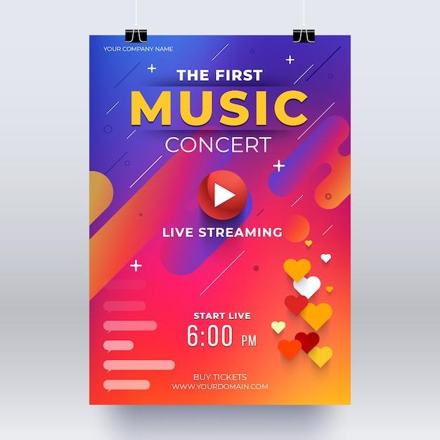 Live-streaming-musikkonzertplakat Kostenlosen Vektoren