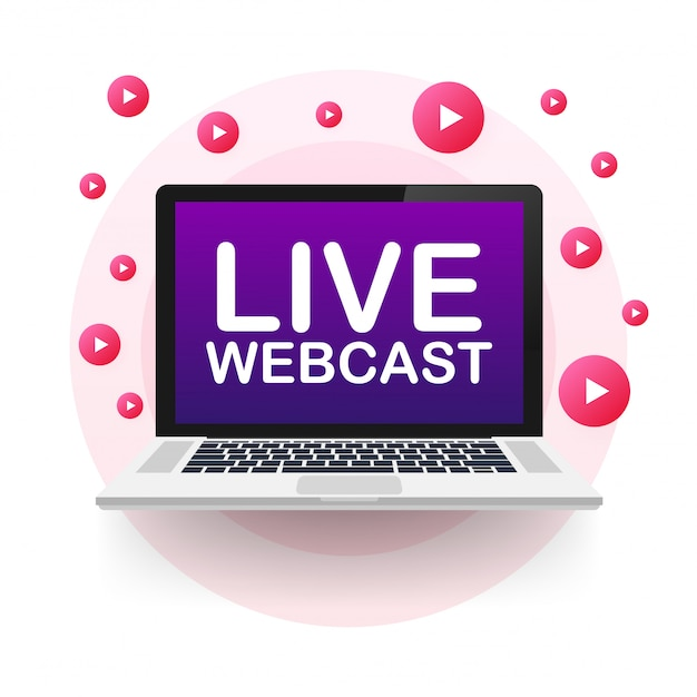 Live webcast button ,, emblem, label. illustration. Premium Vektoren
