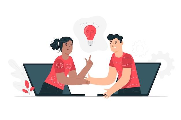 Live-zusammenarbeit konzept illustration Kostenlosen Vektoren