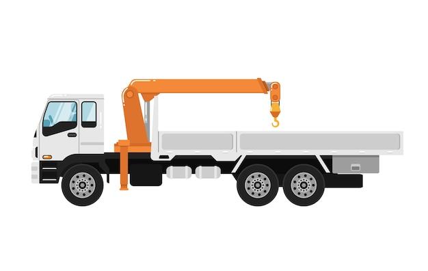 Lkw-angebrachter kran getrennt auf weiß Premium Vektoren