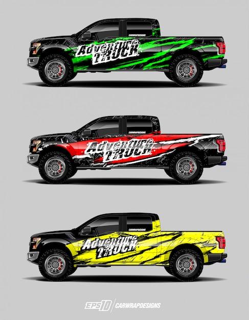 Lkw-aufkleber-design-set Premium Vektoren