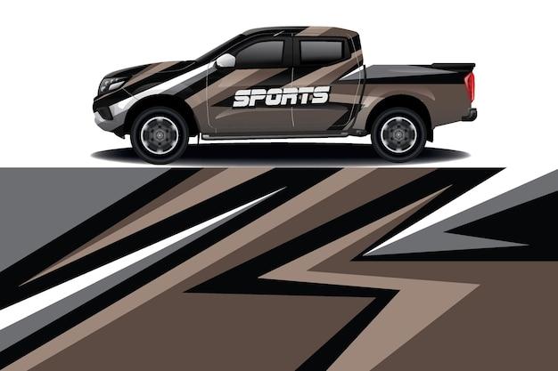 Lkw auto aufkleber wrap design Premium Vektoren