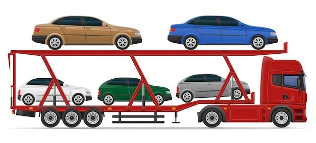 Lkw-halb anhänger für transport der autokonzept-vektorillustration Premium Vektoren