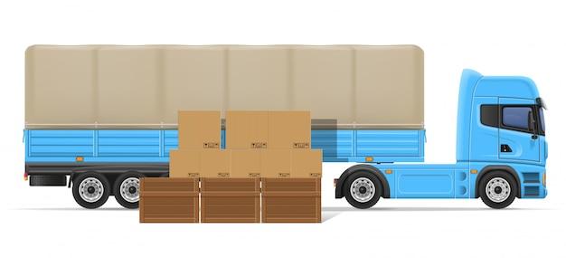 Lkw-halb anhänger für transport der warenkonzept-vektorillustration Premium Vektoren