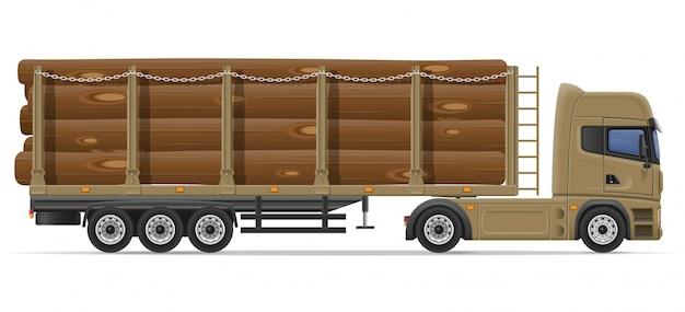 Lkw-halb anhängerlieferung und transport der baumaterialkonzept-vektorillustration Premium Vektoren