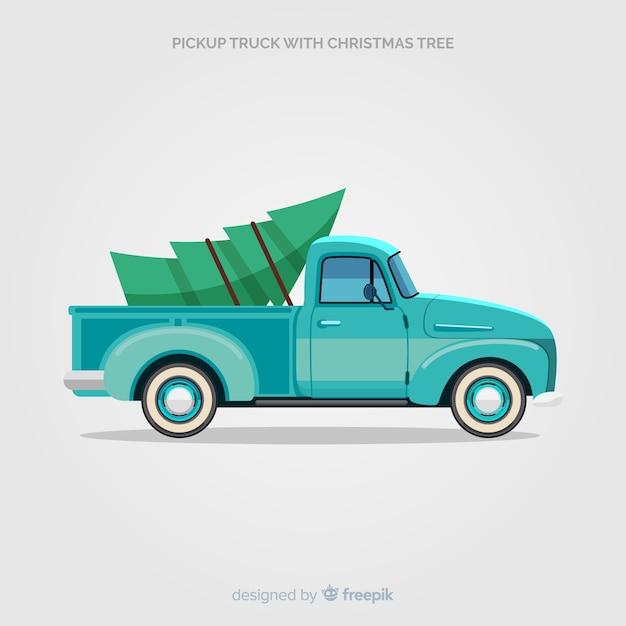 Lkw mit weihnachtsbaum abholen Kostenlosen Vektoren