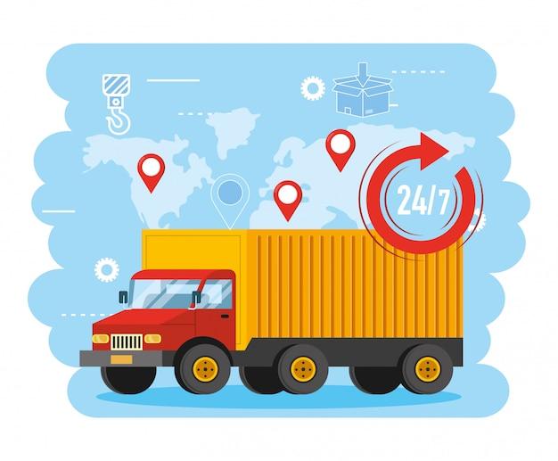 Lkw-transport mit globalen karten- und standortzeichen Premium Vektoren