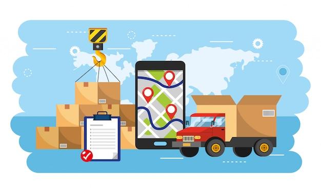 Lkw-transport mit smartphone-gps und box-paketen Premium Vektoren