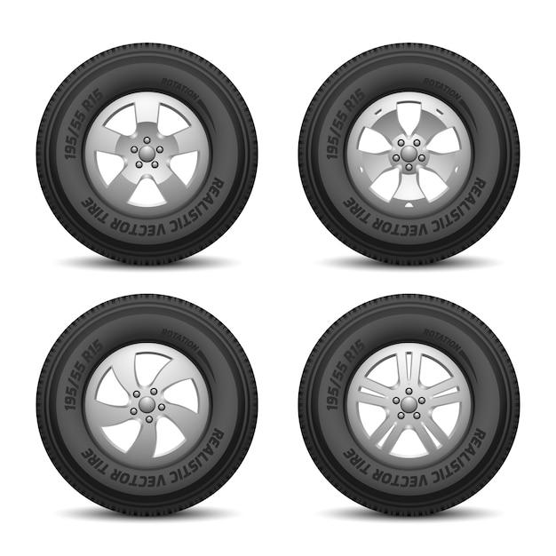 Lkw- und autoräder mit reifen und scheibenvektorillustration Premium Vektoren