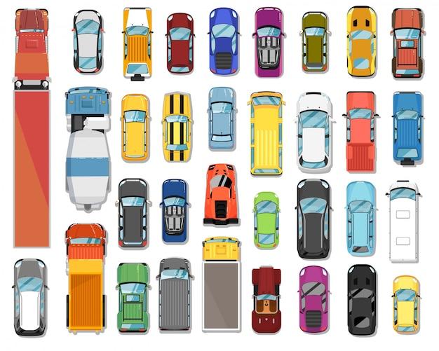Lkw und autos draufsicht. verschiedene kraftfahrzeuge setzen kraftfahrzeuge und lastwagen. draufsicht auf lkw- und pkw-sammlung. autotransport- und autoindustriekonzept Premium Vektoren