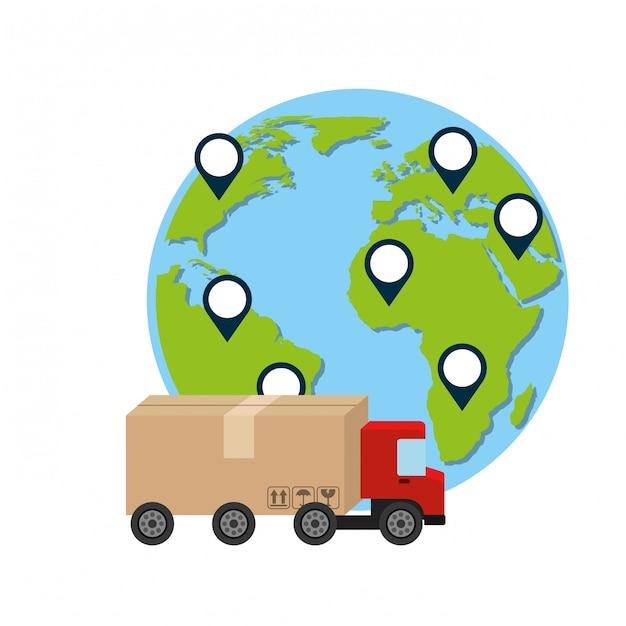 Lkw und welt, lieferung und logistische illustration Premium Vektoren