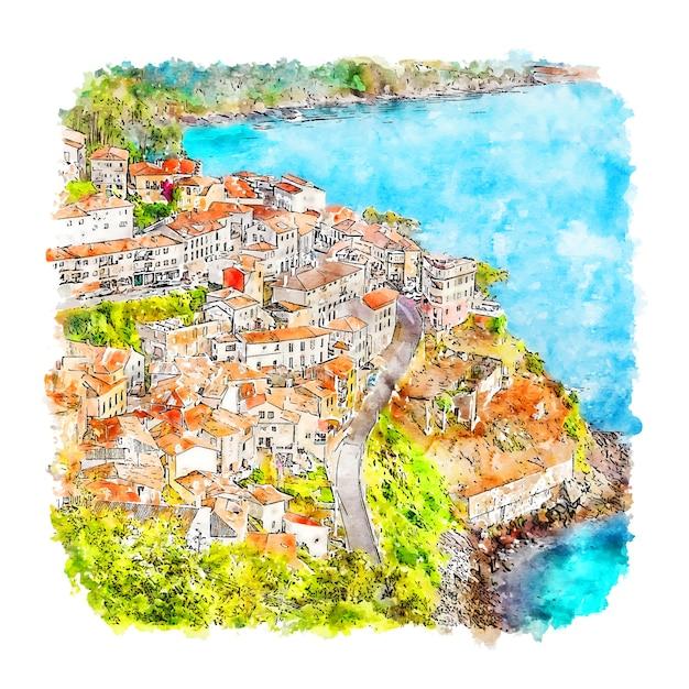 Llastres spanien aquarell skizze hand gezeichnete illustration Premium Vektoren