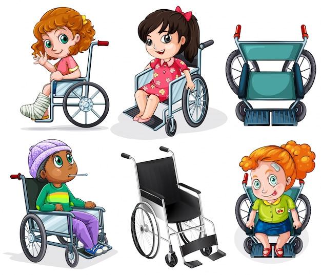 Lllustration der behinderten kinder mit rollstühlen auf einem weißen hintergrund Kostenlosen Vektoren