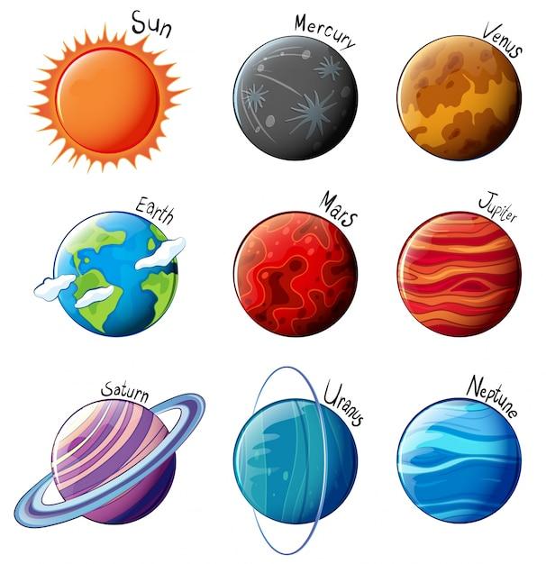 Lllustration der planeten des sonnensystems auf einem weißen hintergrund Kostenlosen Vektoren