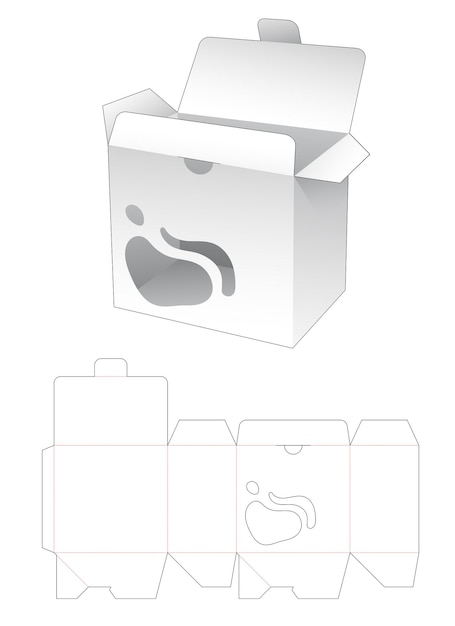 Locked point flip mit flüssigkeitsgeformter fensterstempelschablone Premium Vektoren