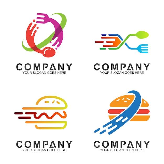 Löffel gabel und burger logo design für restaurant / food business Premium Vektoren