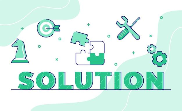 Lösungs-typografie-wortkunsthintergrund des symbolschachpfeil-puzzle-schraubenschlüssel-schraubendreher-zahnrads mit umrissstil Premium Vektoren